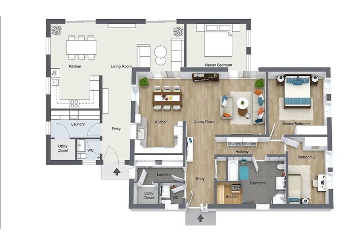 1200 sq ft House Plans 3d